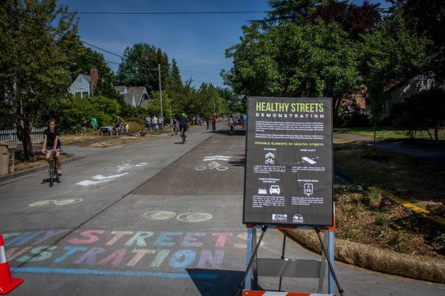 A Healthy Street is designed to promote active people and healthy waterways. Photo credit: Hudson Rennaker.