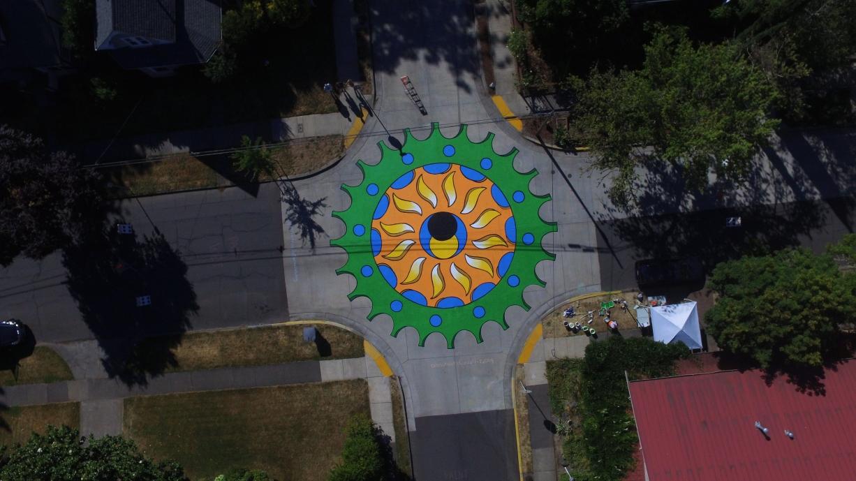 Corvallis's first street mural: The Eclipse Rides Through Corvallis. Photo credit: Skyler Anspacher, Skyward Visuals.