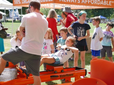 water rowing with Orange Theory