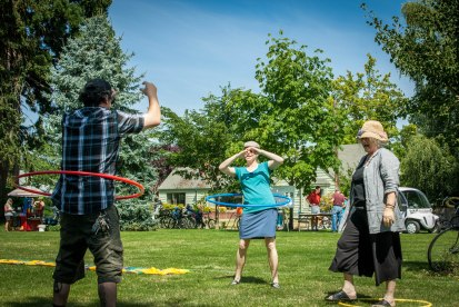hula hooping in the park